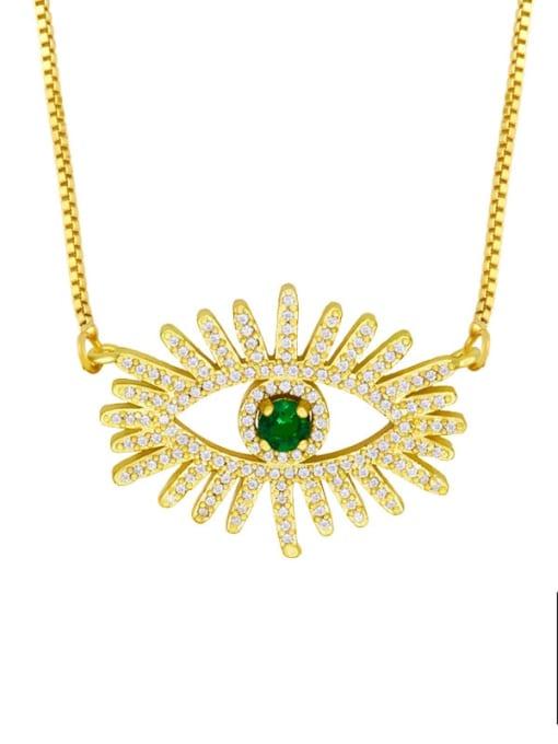 B Brass Cubic Zirconia Evil Eye Hip Hop Necklace