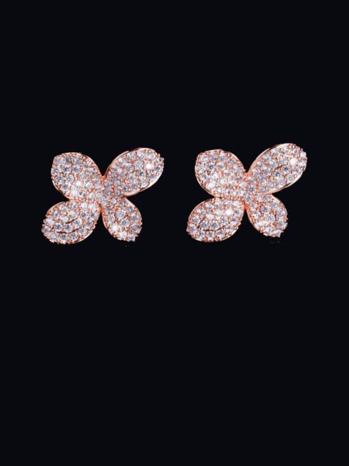 L.WIN Brass Cubic Zirconia Flower Luxury Stud Earring
