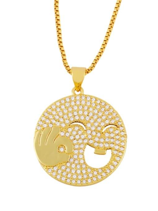 CC Brass Cubic Zirconia Smiley Vintage Necklace 0