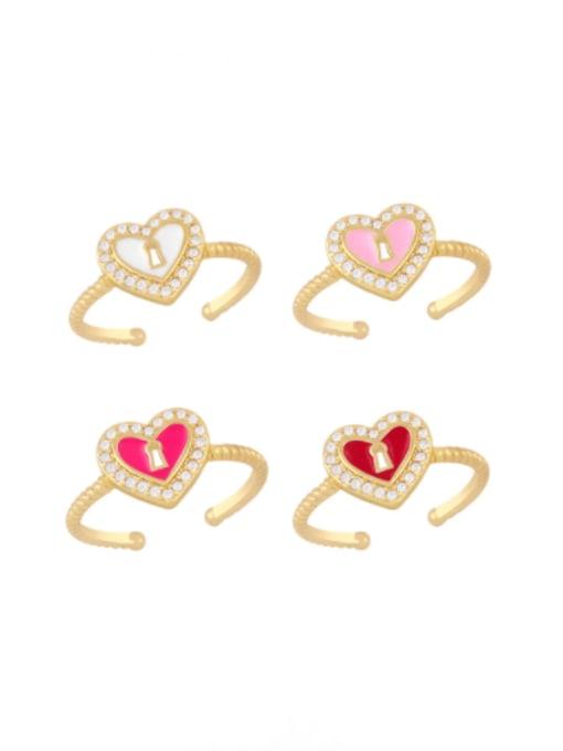 CC Brass Enamel Heart Minimalist Band Ring