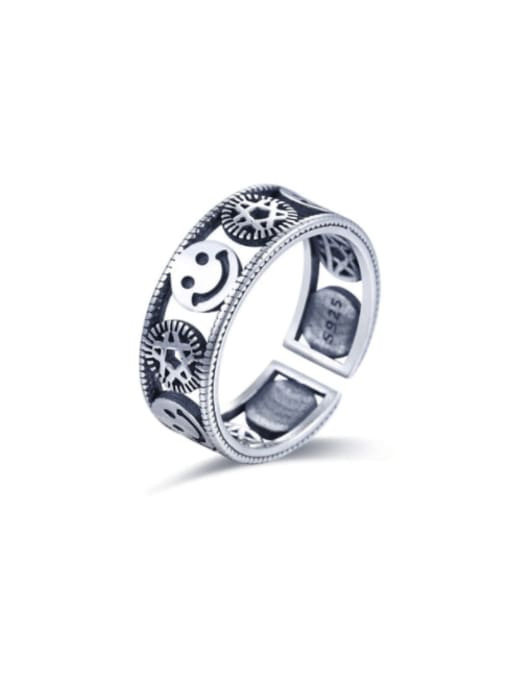 Boomer Cat 925 Sterling Silver Flower Vintage Band Ring 0