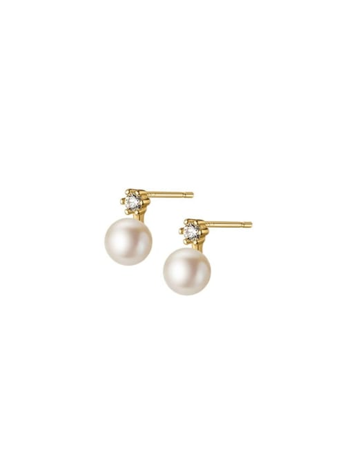 Rosh 925 Sterling Silver Imitation Pearl Round Minimalist Stud Earring 4