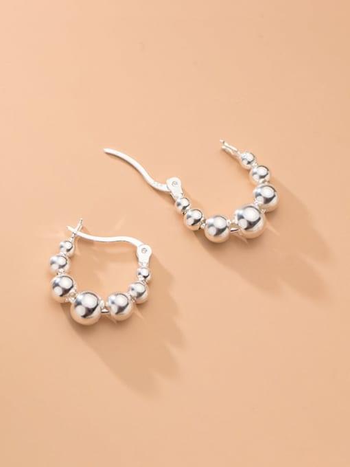 Rosh 925 Sterling Silver Bead Round Minimalist Huggie Earring 1
