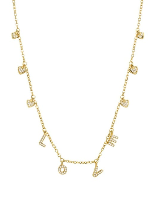 CHARME Brass Cubic Zirconia Letter Minimalist Necklace 2