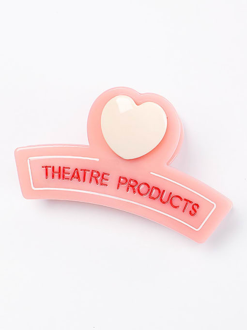 Pink Cellulose Acetate Minimalist Heart Zinc Alloy Multi Color Jaw Hair Claw