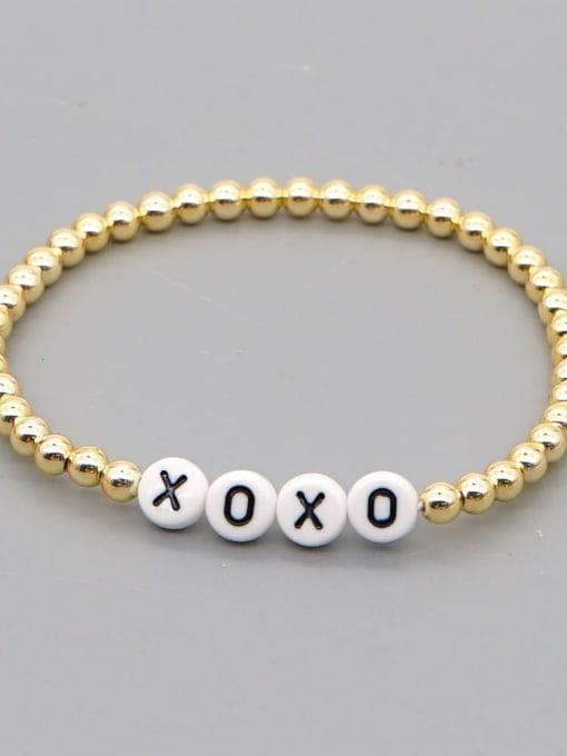 QT B200015S Stainless steel Bead Acrylic Letter Bohemia Beaded Bracelet
