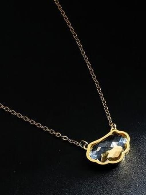 A TEEM Titanium Steel Glass Stone Cloud Minimalist Necklace 0