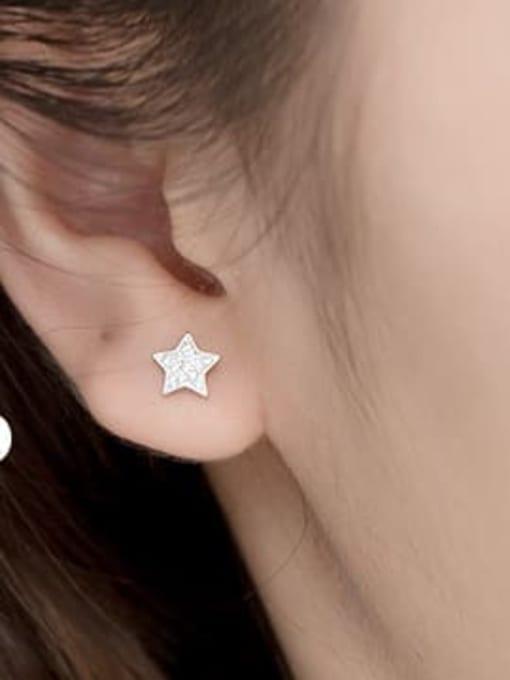 Silver 925 Sterling Silver Rhinestone Star Minimalist Stud Earring