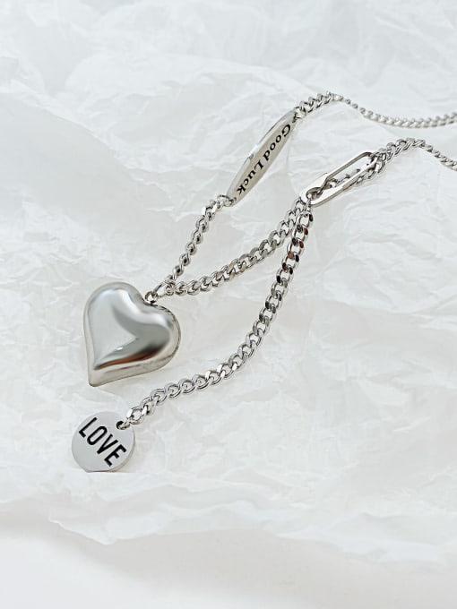 Open Sky Titanium Steel Heart Minimalist Lariat Necklace 0