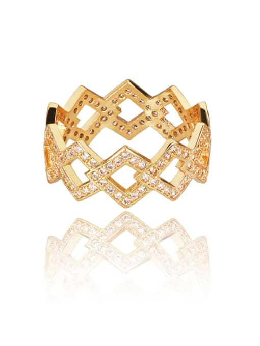 DUDU Brass Cubic Zirconia Geometric Luxury Band Ring