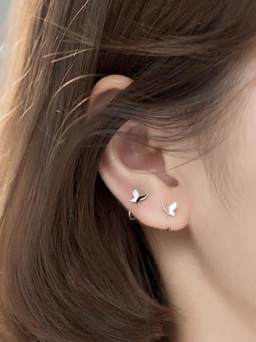 Rosh 925 Sterling Silver Butterfly Minimalist Hook Earring 2