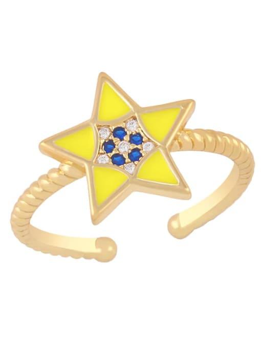 yellow Brass Enamel Star Minimalist Band Ring