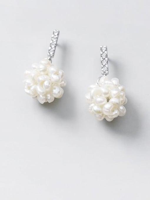 Rosh 925 Sterling Silver Imitation Pearl Ball Minimalist Stud Earring 0