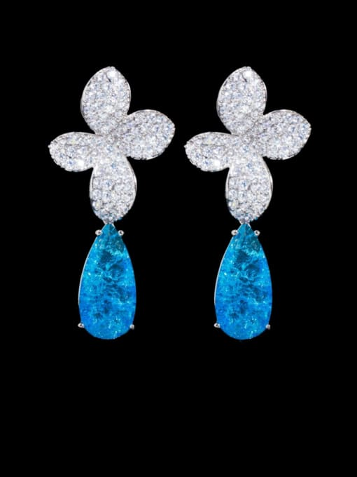 Platinum blue Brass Cubic Zirconia Flower Statement Drop Earring