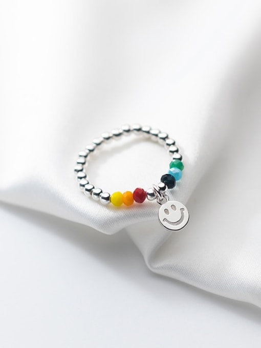 Rosh 925 Sterling Silver Bead Smiley Minimalist Band Ring 2
