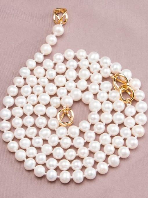RAIN Brass Freshwater Pearl Round Minimalist Long Strand Necklace 2