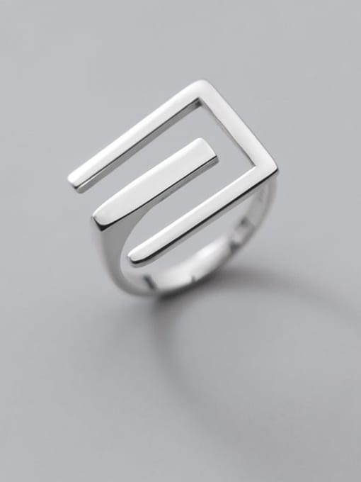 Rosh 925 Sterling Silver Letter Minimalist Band Ring