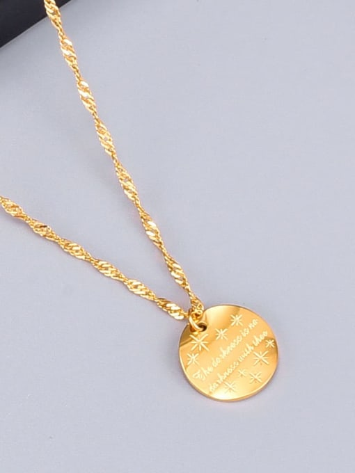 A TEEM Titanium Letter Minimalist round pendant Necklace 2