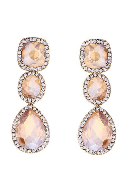 golden Alloy Glass Stone Water Drop Bohemia Cluster Earring