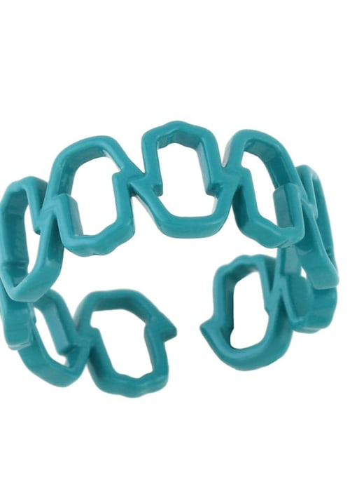 turquoise Brass Enamel Hollow Geometric Minimalist Band Ring