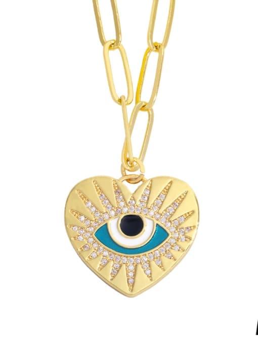 A Brass Cubic Zirconia Enamel Evil Eye Hip Hop Necklace