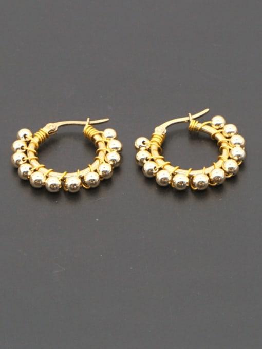 Roxi Stainless steel Bead Geometric Minimalist Huggie Earring 0