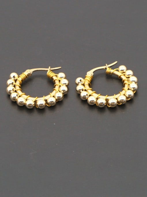 Roxi Stainless steel Bead Geometric Minimalist Huggie Earring