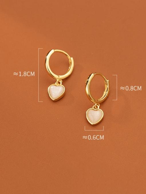 Rosh 925 Sterling Silver Cats Eye Heart Minimalist Huggie Earring 2