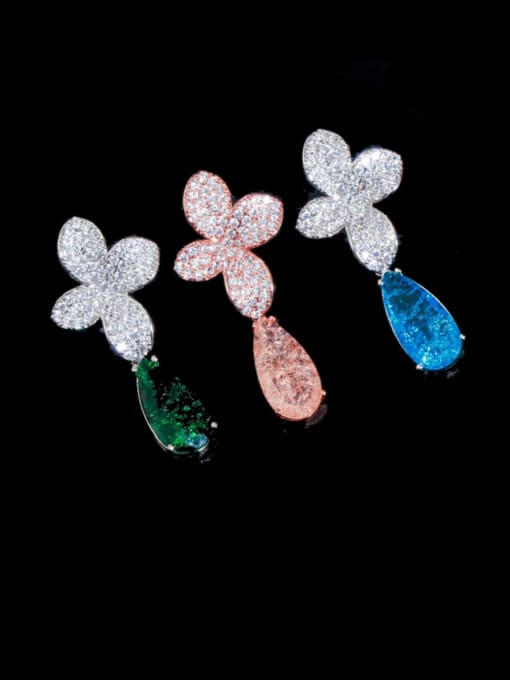 L.WIN Brass Cubic Zirconia Flower Statement Drop Earring