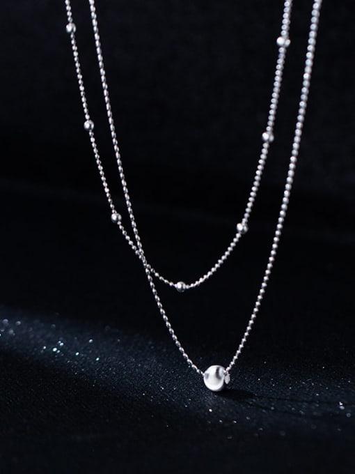 Rosh 925 Sterling Silver Bead Round Minimalist Multi Strand Necklace 1