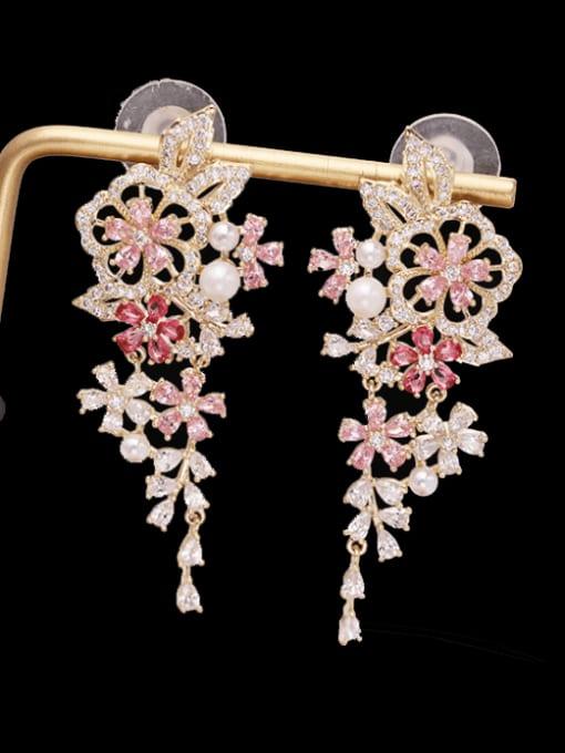 Luxu Brass Cubic Zirconia Flower Bohemia Drop Earring
