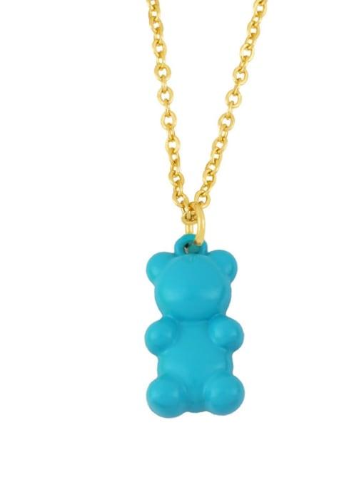CC Brass Enamel Cute Bear Pendant Necklace 1