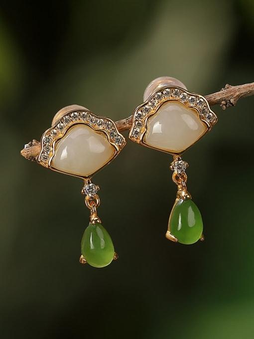 DEER 925 Sterling Silver Jade Triangle Vintage Drop Earring 2