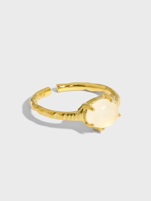 DAKA 925 Sterling Silver Opal Geometric Vintage Band Ring