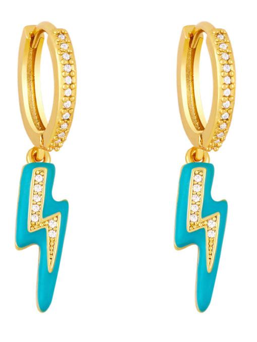 Tibetan blue Brass Enamel Irregular Cute Huggie Earring