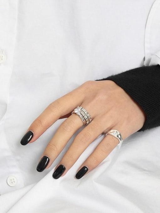 DAKA 925 Sterling Silver Cubic Zirconia Irregular Minimalist Band Ring 1
