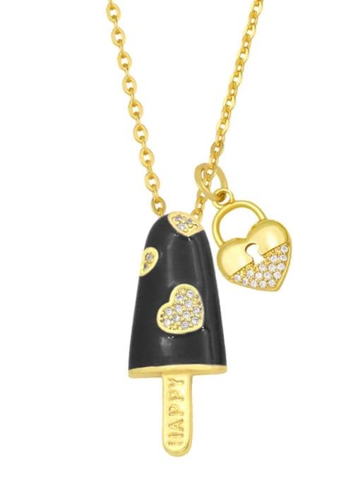 CC Brass Cubic Zirconia Enamel Heart Minimalist Necklace