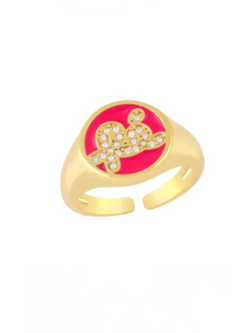 Rose red Brass Enamel Letter Minimalist Band Ring