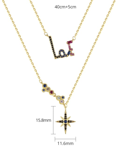 BLING SU Brass Cubic Zirconia Star Dainty Multi Strand Necklace 3