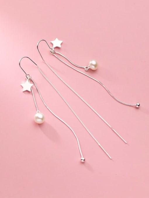 Rosh 925 Sterling Silver Imitation Pearl Tassel Minimalist Threader Earring 3