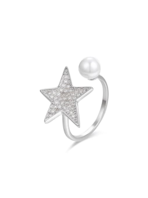 Boomer Cat 925 Sterling Silver Cubic Zirconia Star Minimalist Band Ring 0