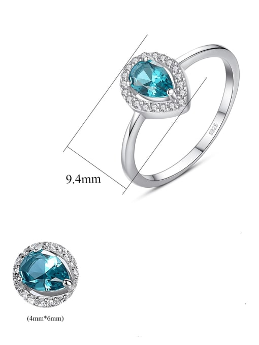 CCUI 925 Sterling Silver Cubic Zirconia Water Drop Dainty Band Ring 3