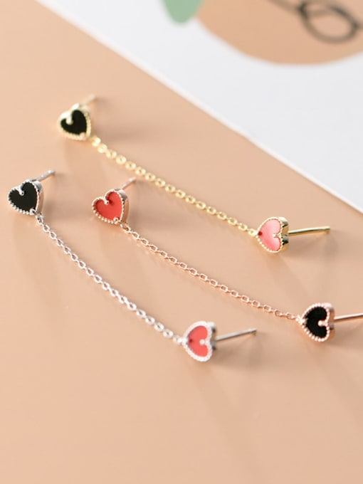 Rosh 925 Sterling Silver Enamel Heart Trend Drop Earring 2