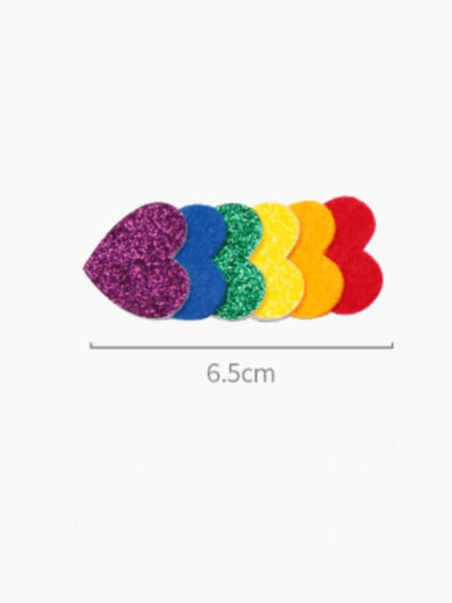 YOKI KIDS Alloy  Fabric Cute Heart Multi Color Hair Barrette 3