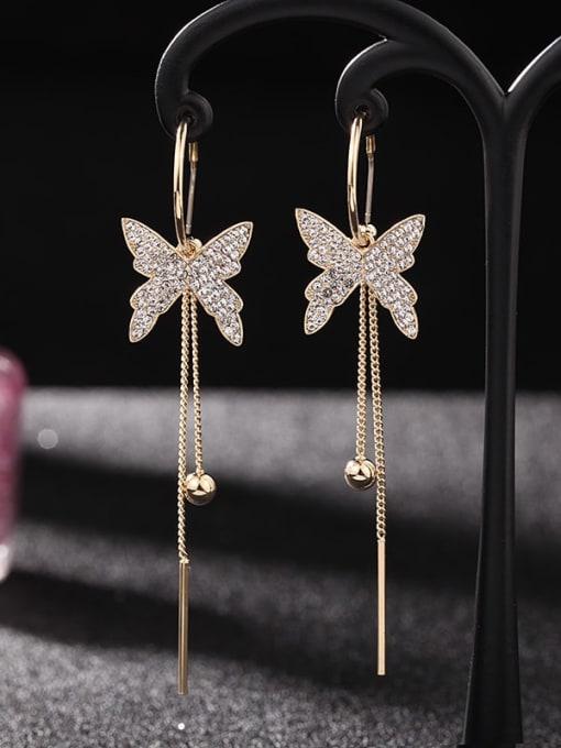 Golden White Diamond Brass Cubic Zirconia Butterfly Trend Threader Earring
