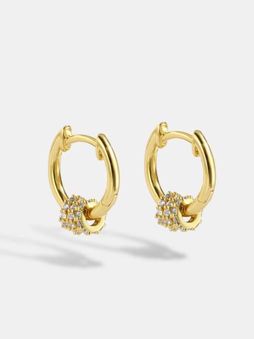CHARME Brass Cubic Zirconia Round Minimalist Huggie Earring 0