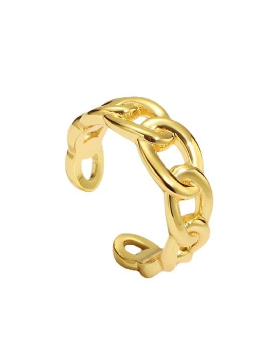 CHARME Brass Hollow Geometric Minimalist Band Ring 3
