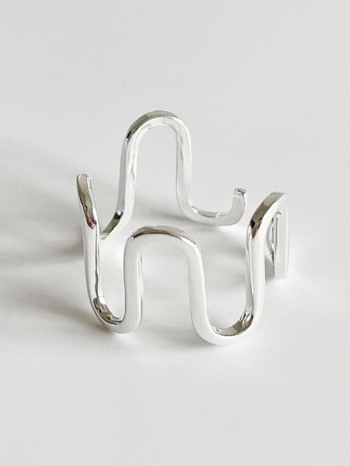 Boomer Cat 925 Sterling Silver Irregular Minimalist Band Ring 4