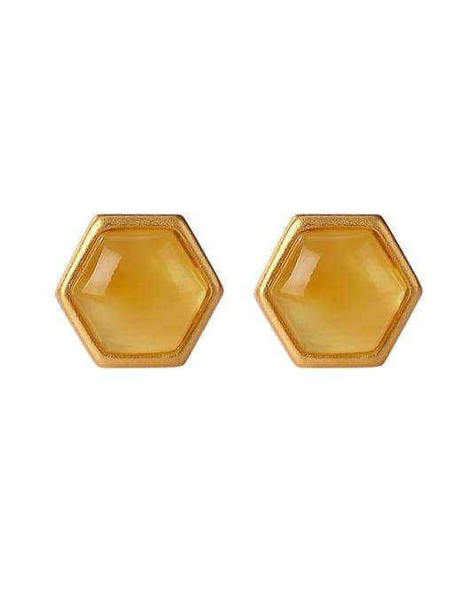 DEER 925 Sterling Silver Amber Hexagon Vintage Stud Earring