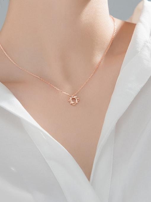 Rosh 925 Sterling Silver Rhinestone Flower Minimalist Necklace 3